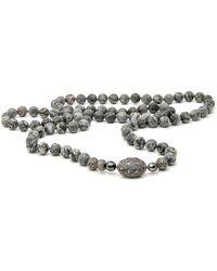 Hannah Ferguson Gray Agate Bead Necklace - Black