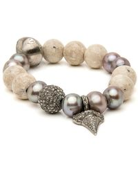 Hannah Ferguson Tan Agate With Pave Shark Tooth Charm Bracelet