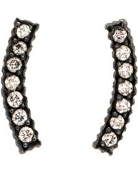 Yossi Harari   Lilah Gilver Curved Diamond Pave Stud Earrings   Lyst