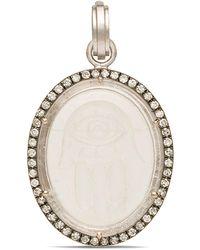 Sylva & Cie White Gold Hand Carved Rock Crystal Hamsa Pendant - Black