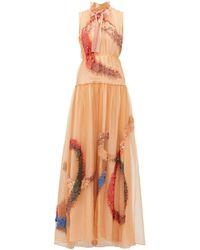 ROKSANDA Ginger Giona Sequined Silk-organza Gown - Orange
