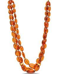 Darlene De Sedle Cognac Amber Beaded Triple Strand Necklace - Black