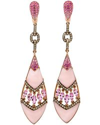 Wendy Yue - Pink Opal And Sapphire Earrings - Lyst