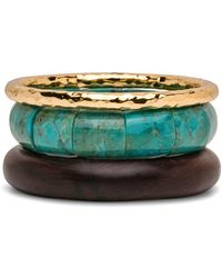 Nest Hammered Gold And Turquoise Rosewood Bracelet Set - Black