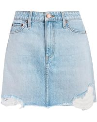 Alice + Olivia High Rise Distressed Denim Skirt In Silver Lining - Blue