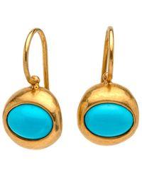 Darlene De Sedle Oval Turquoise Earrings - Black