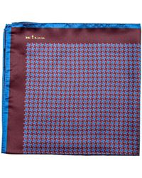 Kiton - Cranberry And Blue Houndstooth Print Pocket Square - Lyst