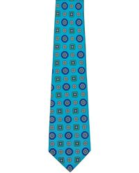 Kiton Aqua Royal Blue And Green Medallion Tie - Black