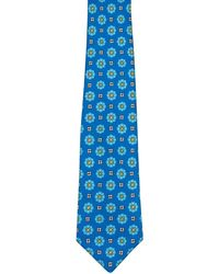 Kiton Blue With Green And Yellow Medallion Tie - Black