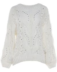 Loyd/Ford White Oversized Pullover Sweater With Crystals