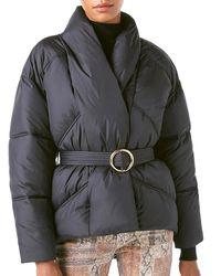 FRAME Noir Wrap Puffer Jacket Xs - Black