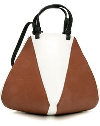 the VOLON - Medium Noce Brown And White Cindy Tote - Lyst