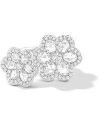 64 Facets White Gold Diamond Double Rose Ring - Black