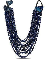 Monies Blue Pearl Beaded Multi Strand Short Necklace - Black