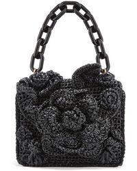 Oscar de la Renta Black Raffia Mini Tro Bag