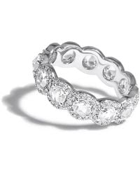 64 Facets White Gold Diamond Scallop Ring Band - Black