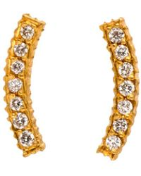 Yossi Harari - Lilah Gold Curved Diamond Pave Stud Earrings - Lyst