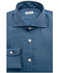 Kiton - Blue Melange Twill Dress Shirt - Lyst