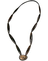 Monies Rutliated Quartz Horn And Ebony Long Necklace - Black