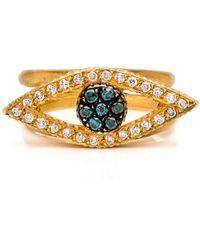 Yossi Harari - Lilah Teal And White Diamond Ring - Lyst