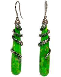 Wendy Yue Green Turquoise Drop Earrings