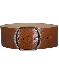 Brunello Cucinelli Wide Grain Leather Belt In Cinnamon - Brown