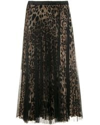Loyd/Ford Black And Leopard Tulle Layered Midi Skirt