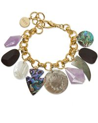 Nest - Mother Of Pearl Amethyst Charm Bracelet - Lyst