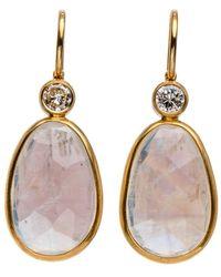 Darlene De Sedle - 22k Rainbow Moonstone And Diamond Drop Earrings - Lyst
