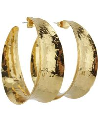 Nest - Gold Concave Hoop Earrings - Lyst