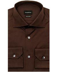 Ermenegildo Zegna Dark Brown Dress Shirt 39 Metric - Black