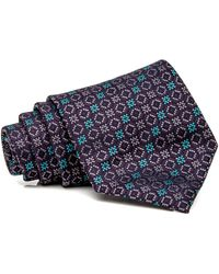 Brioni - Teal Bordeux And Navy Geometric Tie - Lyst