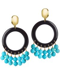 Nest - Horn Circle Earrings With Turquoise Drops - Lyst