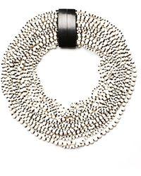 Monies Bone And Kamagong Anacona Beaded Short Necklace - Black