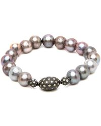 Hannah Ferguson - Pearl Bracelet With White Diamond - Lyst