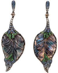 Wendy Yue Opal Feather Earrings - Multicolor