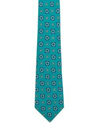 Kiton - Aqua With Ivory And Navy Geometric Tie - Lyst