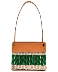 Rodo - Tan Leather And Wicker Striped Shoulder Bag - Lyst bdc88ee05cef5