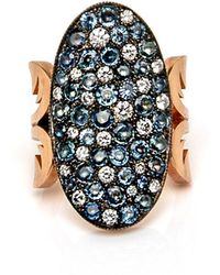 Sylva & Cie - Blue Sapphire And Diamond Oval 10 Table Ring - Lyst