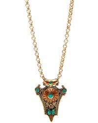 Devon Leigh - Turquoise And Coral Brass Pendant Necklace - Lyst