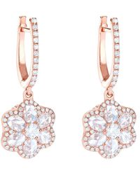 64 Facets Rose Gold Diamond Flower Drop Earrings - Black