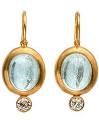 Darlene De Sedle - Cabochon Aqua Earrings With Bezel Set Diamond - Lyst