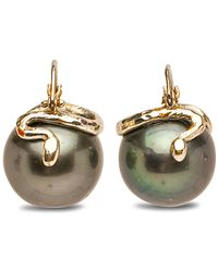 Samira 13 White Gold And Tahitian Pearl Snake Drop Earrings - Black