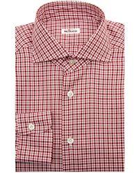 6fff0f1ae1 Lyst - Kiton Plaid Cotton Flannel Shirt in Orange for Men