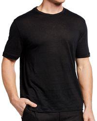 Ermenegildo Zegna - Black Linen Crew Neck T Shirt 48 Itl - Lyst