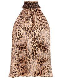 Alice + Olivia Spotted Leopard Almira Smock Neck Halter Top - Multicolor