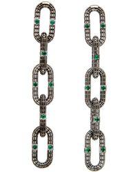 Roule & Co. - Brilliant Cut Emerald Chain Link Earrings - Lyst