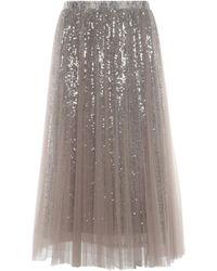 Loyd/Ford Silver Sequin Tulle Layered Midi Skirt - Metallic