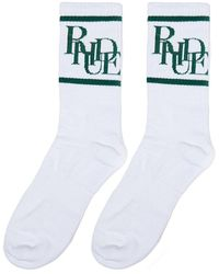 Rhude Scramble Logo Socks 'white/forest'