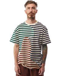 Brain Dead Organic Panelled Striped Shirt 'natural' - Multicolour